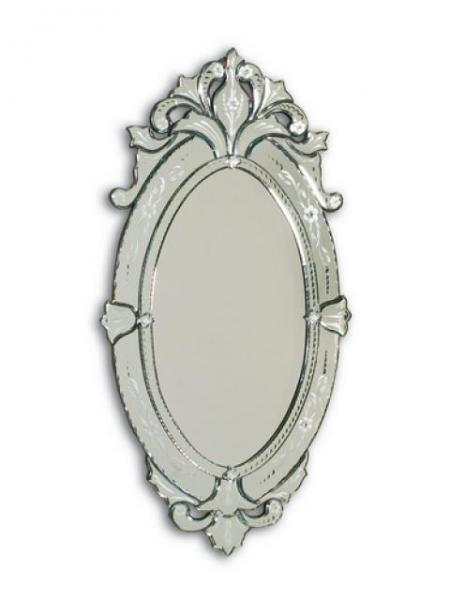 Hand cut and etched oval Venetian glass mirror frame. Beveled plate.