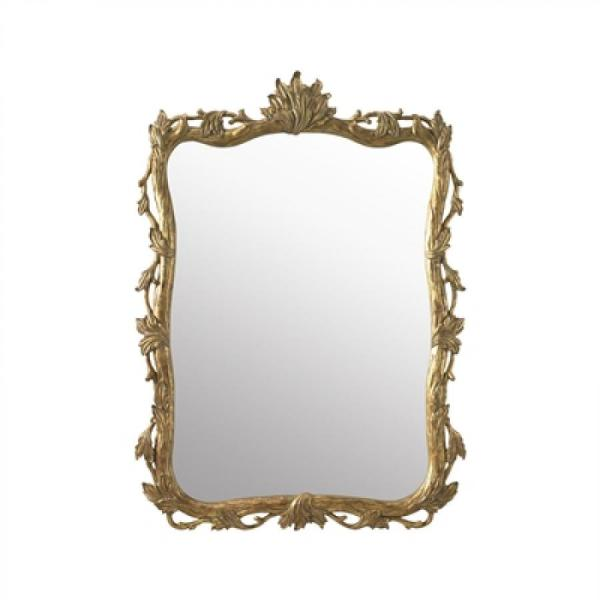 Hand carved wooden mirror with burnished gold finish.