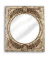 Hand Carved Mirror, Gilded Gold Accents,Antiqued Beveled Glass